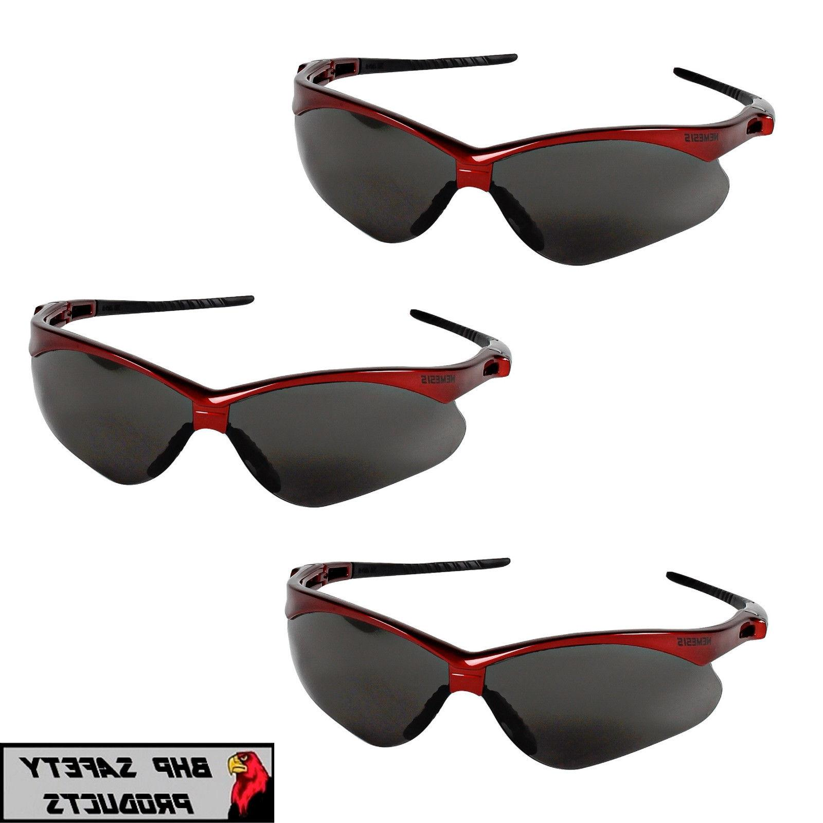 JACKSON NEMESIS SAFETY GLASSES SMOKE LENS W/ RED FRAME SUNG