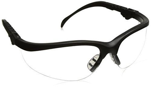 Klondike Plus Safety Glasses, Black Frame, Clear Lens