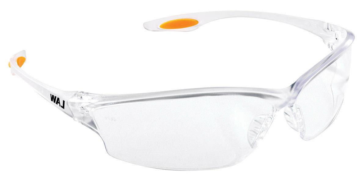 Crews LW210 Law 2 Safety Glasses Orange Temple Inserts w/ Cl
