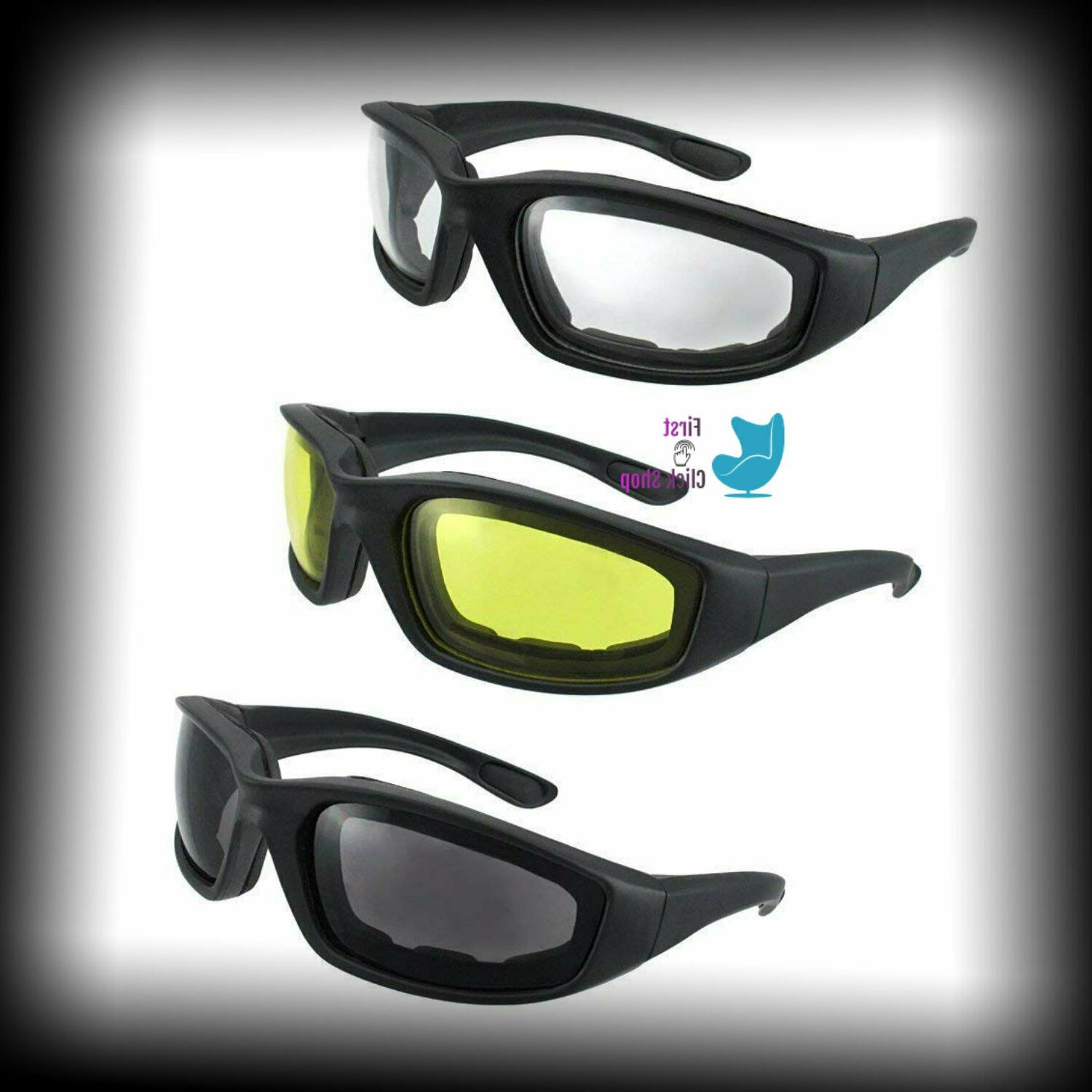 3 PAIR MOTORCYCLE RIDING GLASSES SMOKE CLEAR YELLOW FOR HARL
