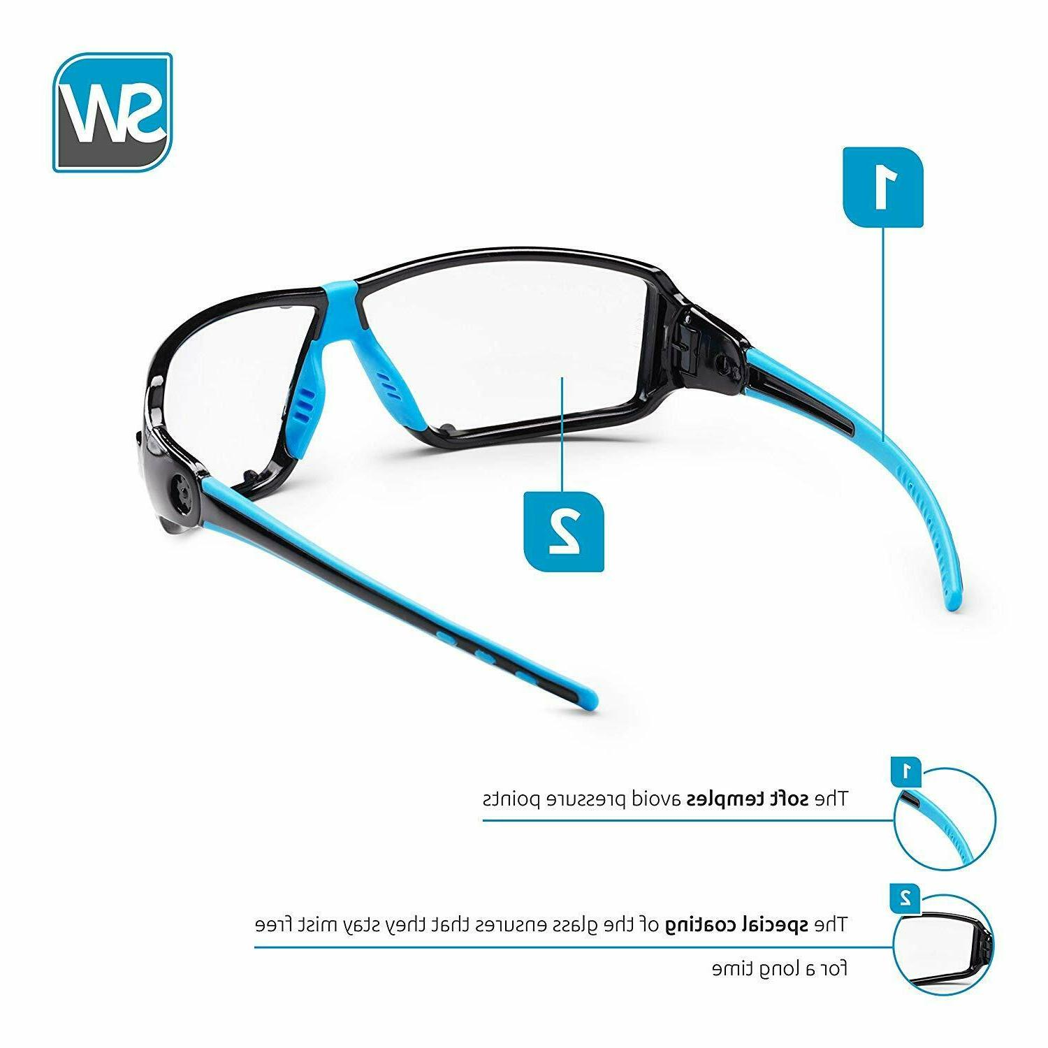 Professional safety CLEAR eye glasses integrated side protec