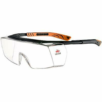 NoCry Over-Glasses Safety Glasses - with Clear Wraparound Lenses,