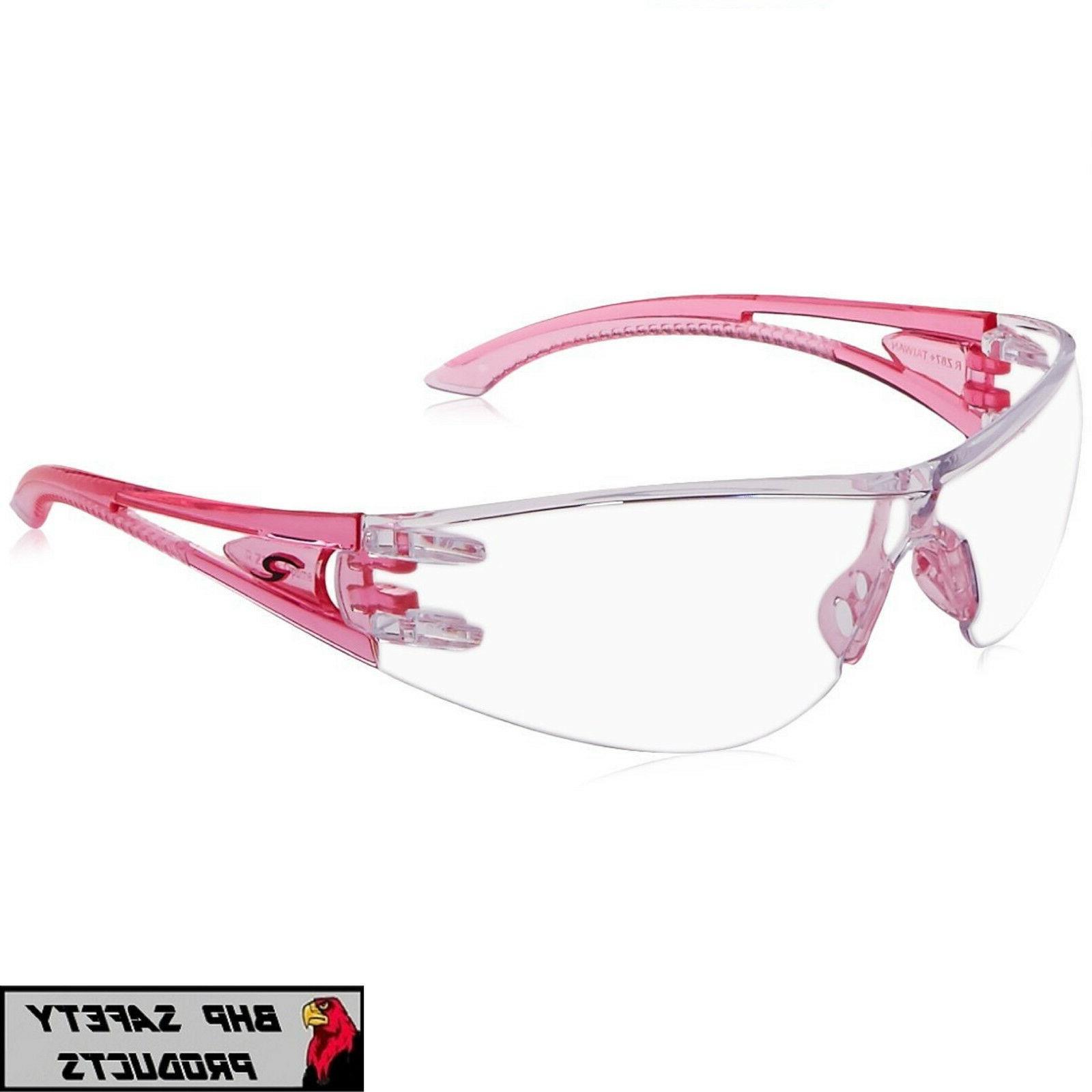 RADIANS OPTIMA SAFETY GLASSES PINK TEMPLES CLEAR HARD COAT L