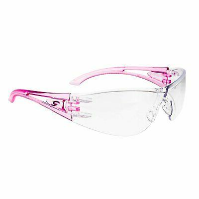 optima safety glasses pink temples clear hard