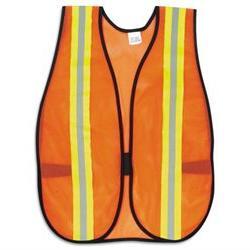MCR Safety Orange Safety Vest, 2 Reflective Strips, Polyeste
