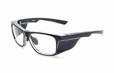 radiation safety glasses in black rectangular hipster