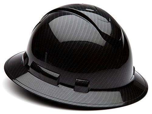Pyramex Ridgeline Hard Hat Shiny Graphite Pattern Black Full