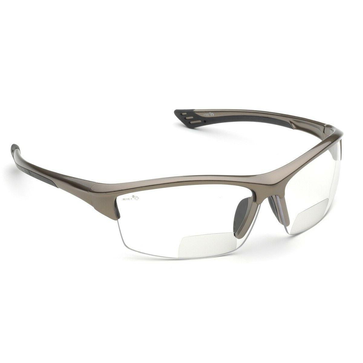 Elvex RX-350C 2.0 Diopter Bifocal Safety Glasses, Metallic B