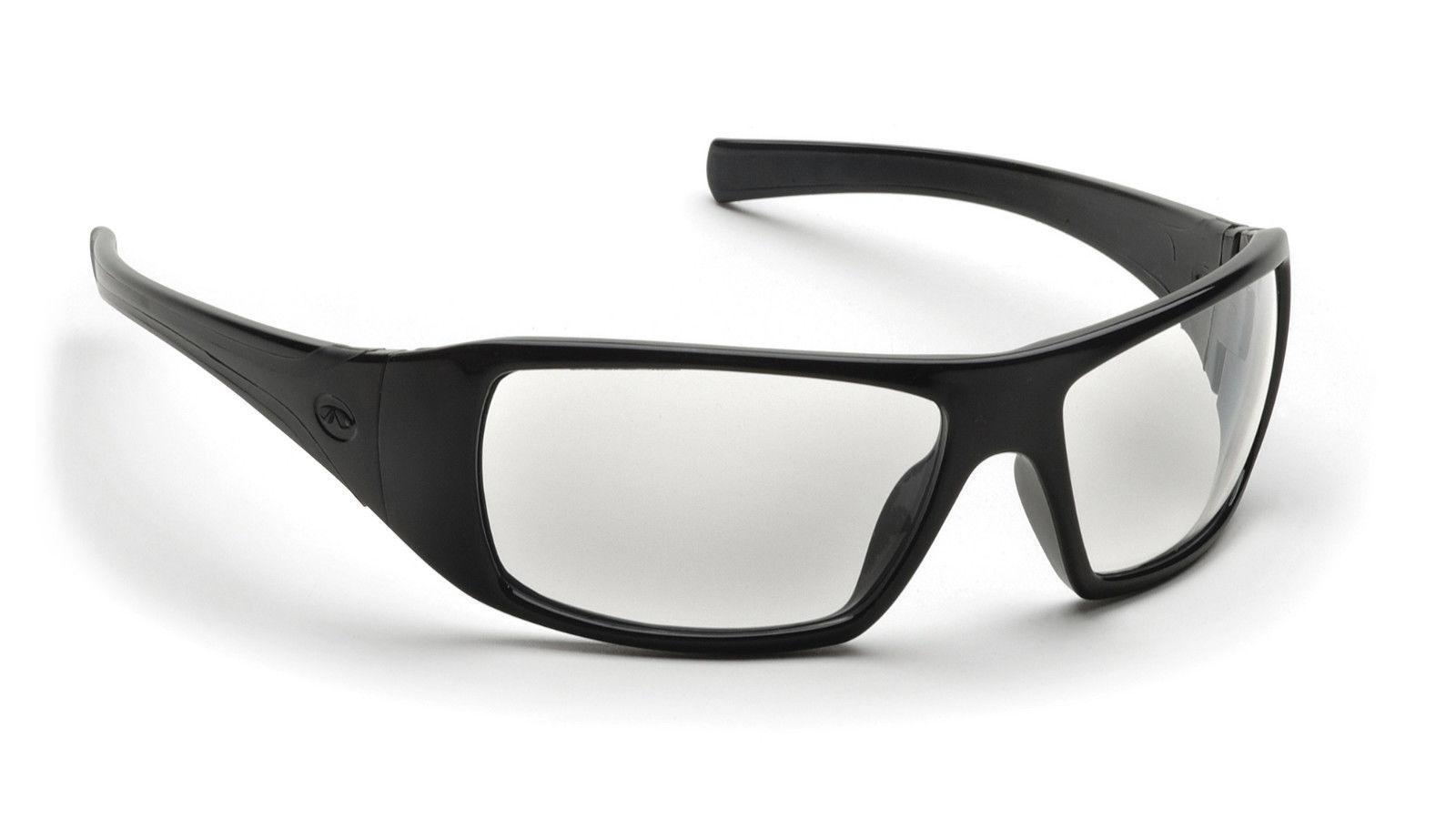 safety glasses clear lens black frame sport