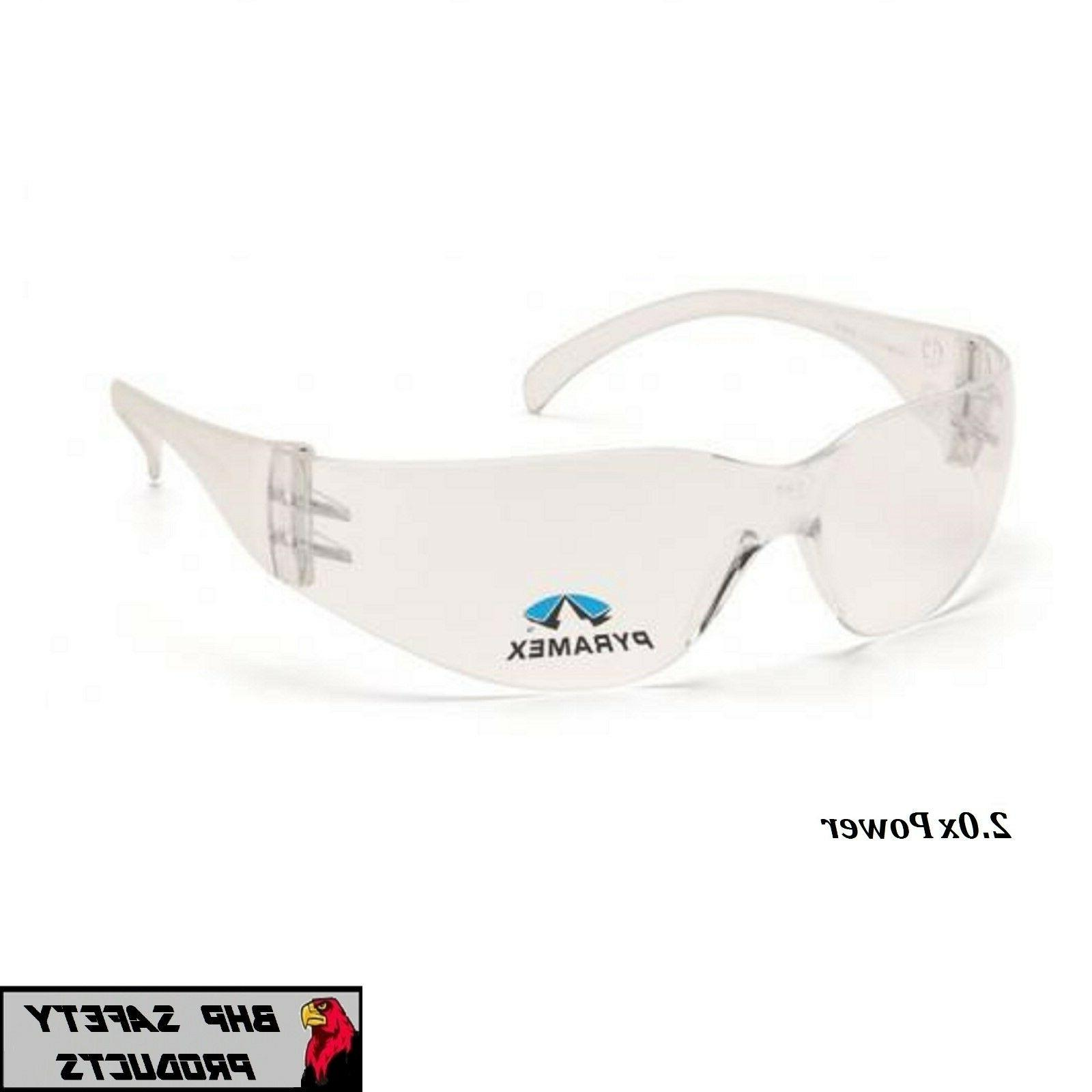PYRAMEX INTRUDER READER SAFETY GLASSES CLEAR BIFOCAL 2.0 LEN