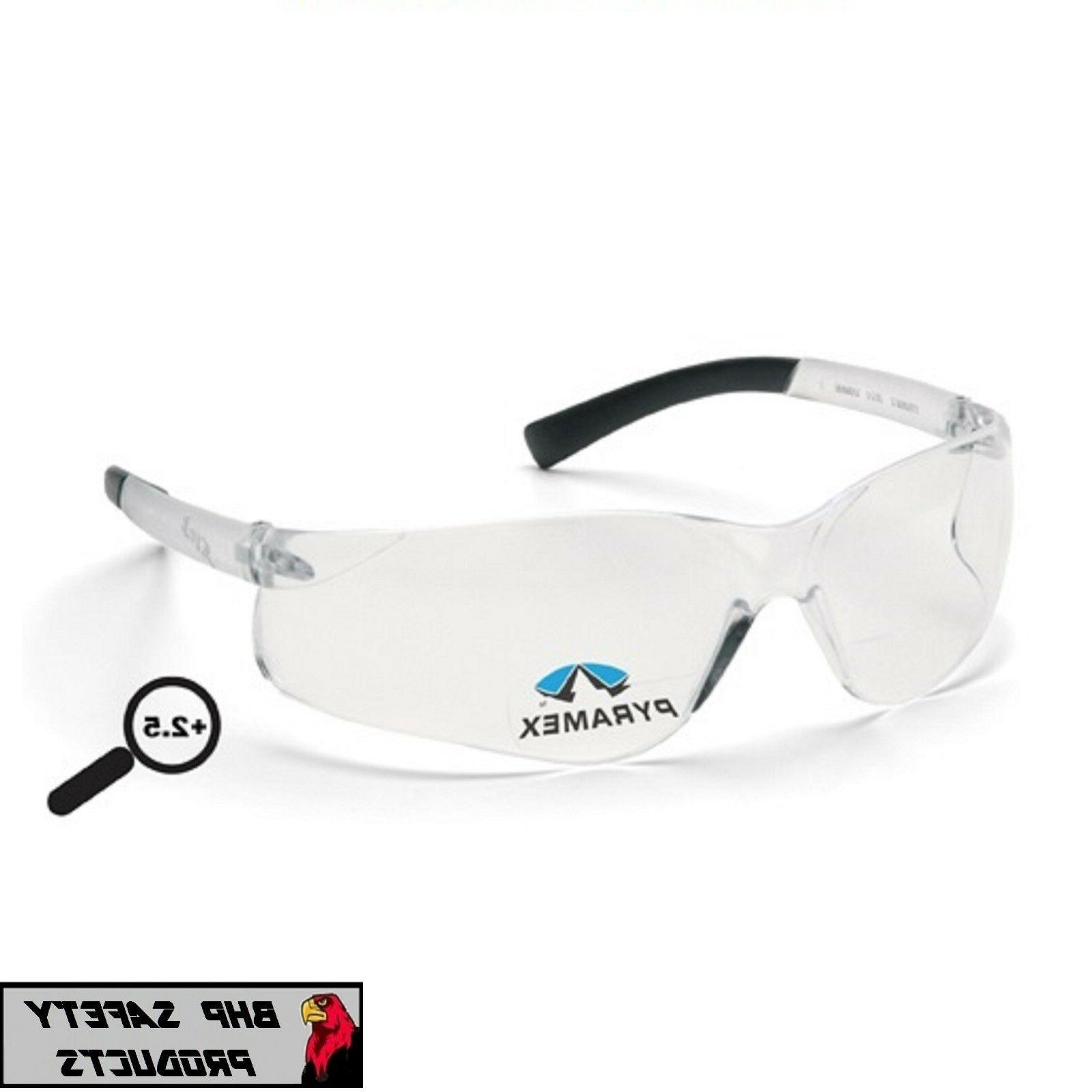 PYRAMEX ZTEK READER SAFETY GLASSES CLEAR BIFOCAL +2.50 POWER
