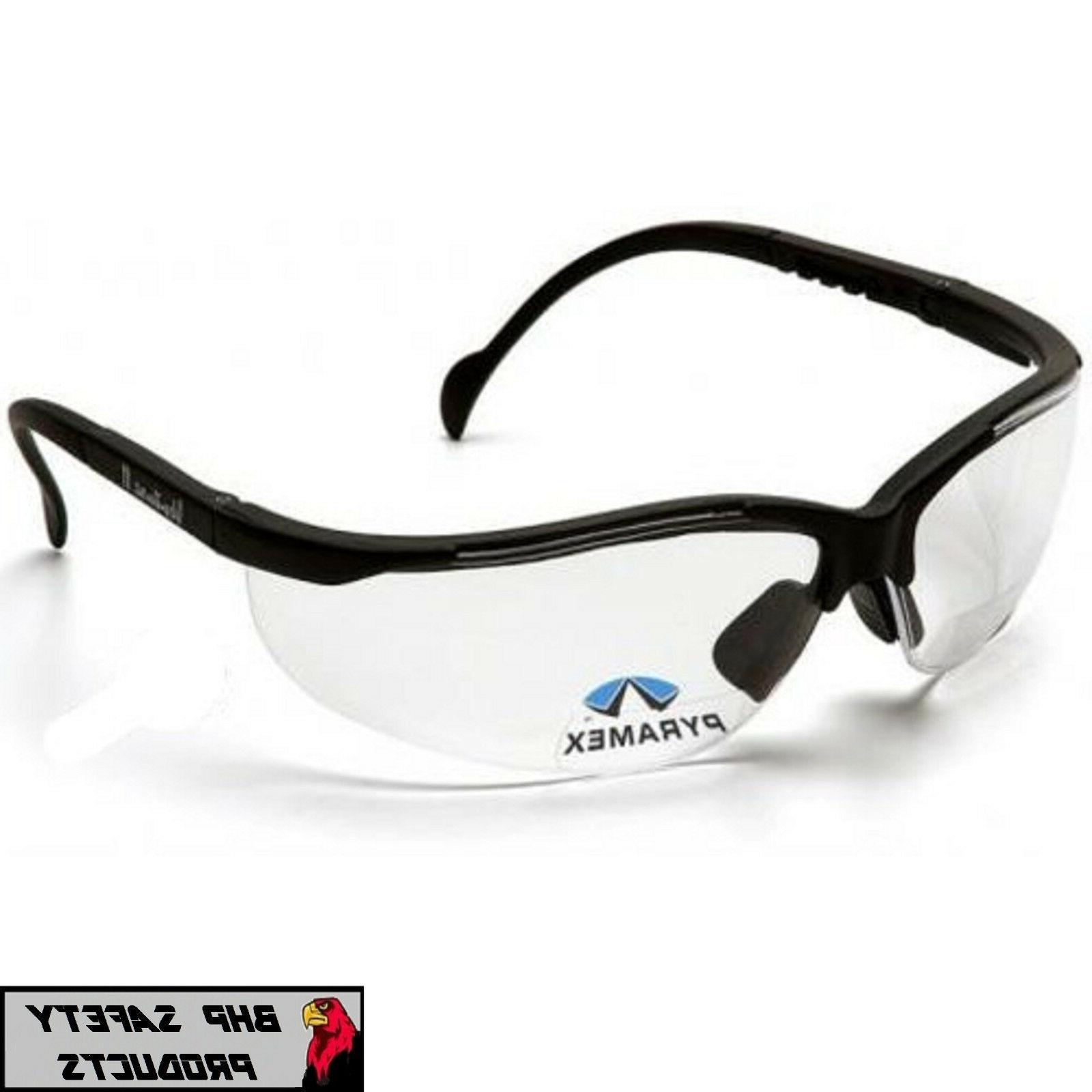 PYRAMEX VENTURE II V2 READER SAFETY GLASSES CLEAR BIFOCAL +2