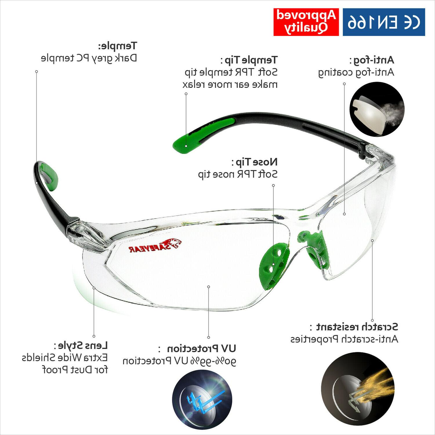 Safeyear Safety Goggles Lab Strap LED Z87+
