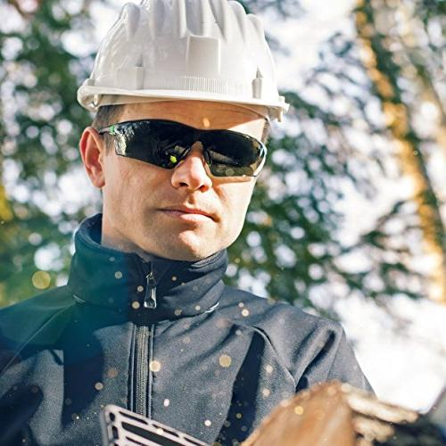 NoCry Work Sports Safety Tinted Scratch Resistant Lenses and No-Slip Grips, UV Protection. Black Frames