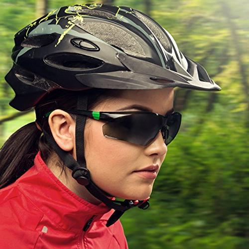NoCry Sports Safety Sunglasses Tinted Scratch Wrap-Around Lenses and No-Slip UV Protection. Adjustable, Black &