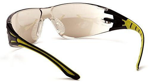 Pyramex Safety Plus Durable SAFETY Glasses, Black/Yellow Frame, Mirror