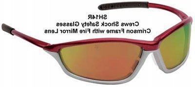 Crews Shock Protective Eyewear, Crimson and Stone, Fire-Mirr
