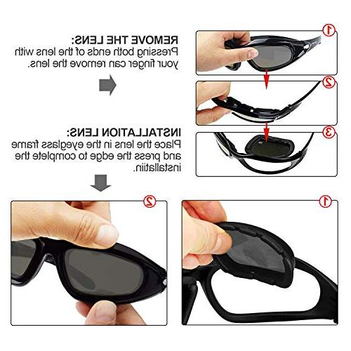 ActionEliters Tactical Polarized UV400 Protective Shooting Safety Glasses Kit 3 Lenses Shooting Driving Running