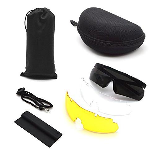 ActionEliters Tactical Eyewear Polarized UV400 Safety Glasses w/ 3 Lenses Shooting Driving Fishing Running More