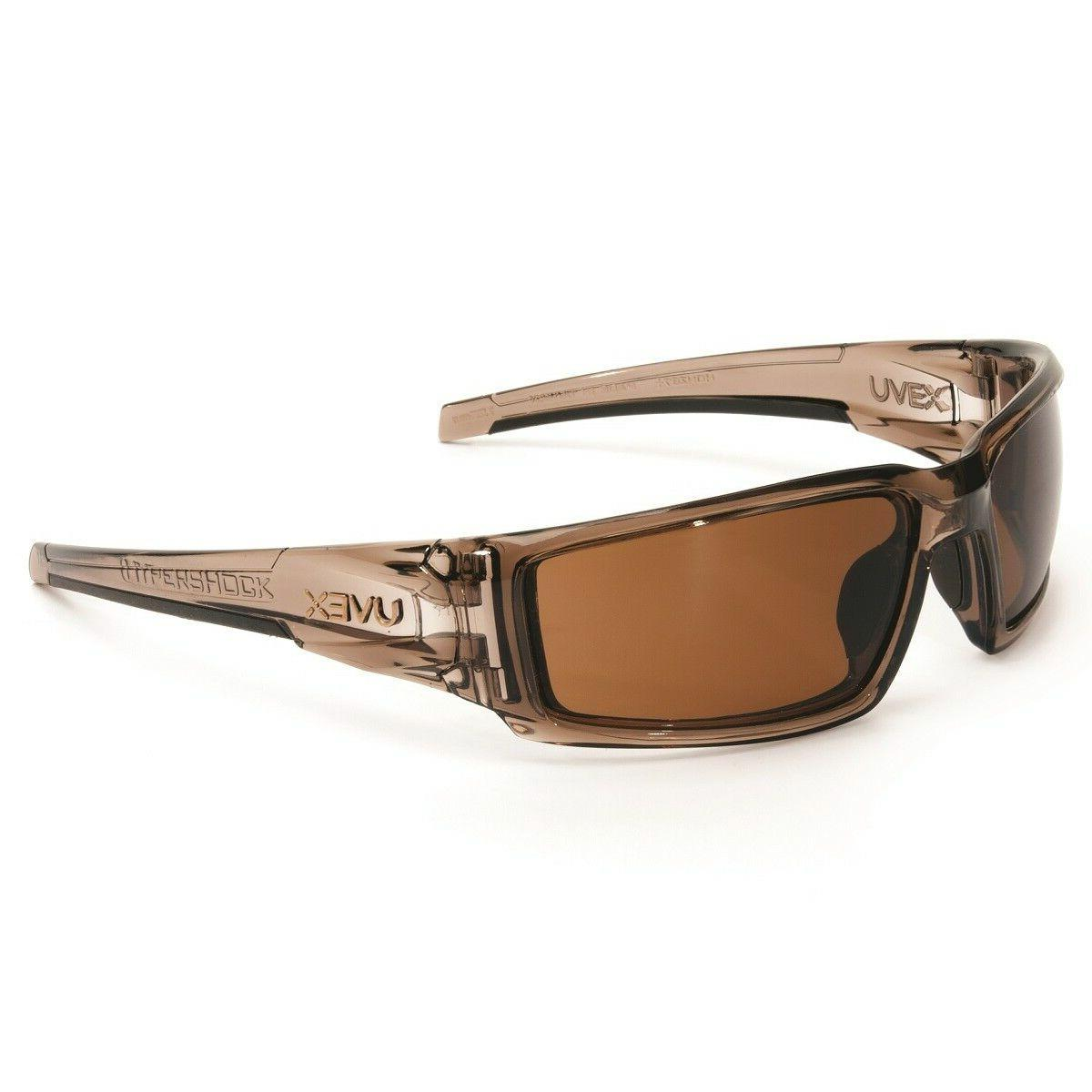 uvex hypershock safety glasses with brown anti