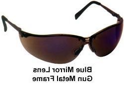 Pyramex V2-Metal Safety Eyewear, Blue Mirror Lens With Gun M