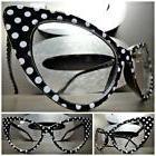 VINTAGE RETRO CAT EYE Style Clear Lens EYE GLASSES Black & W
