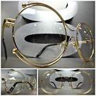 VINTAGE RETRO Style Clear Lens EYE GLASSES Round unique Gold