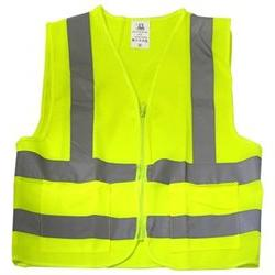 Neiko High Visibility Neon Yellow Zipper Front Safety Vest w