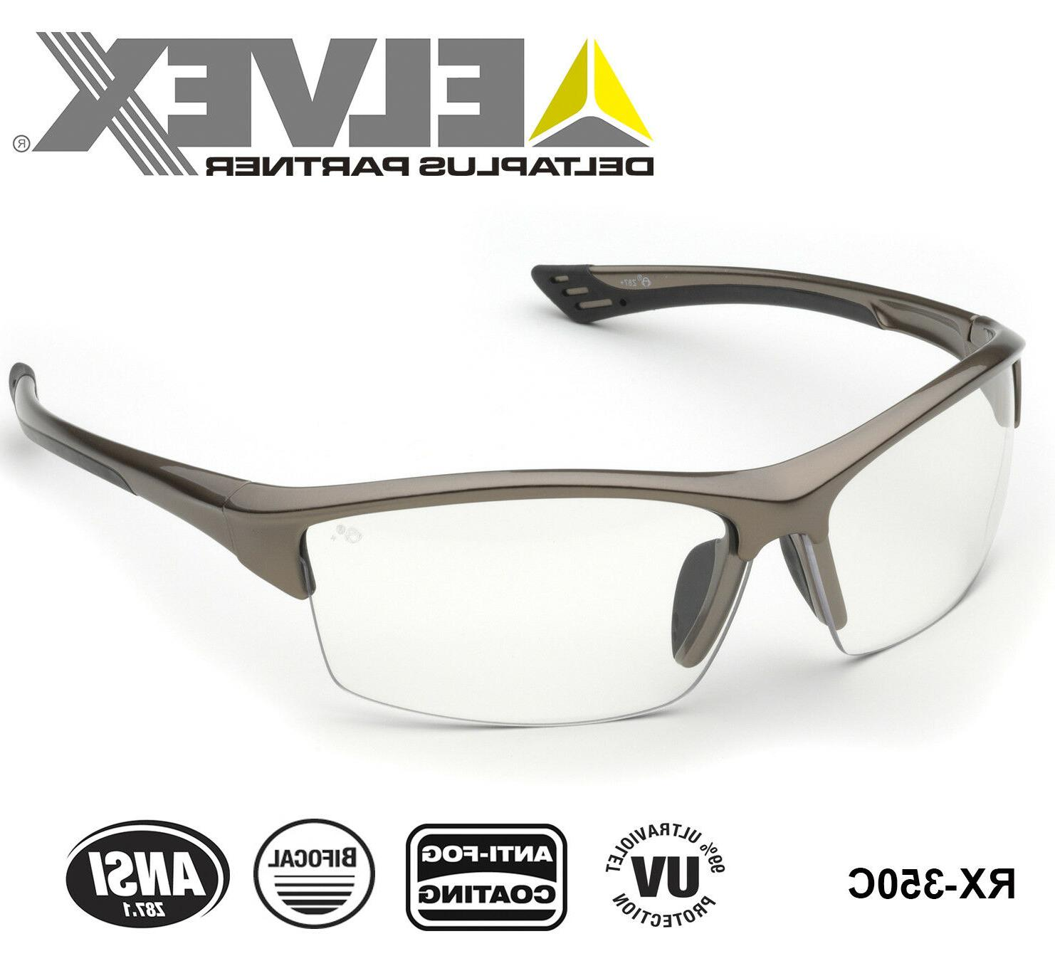 Elvex Bifocal Safety Metallic Brown Frame/Clear Lens