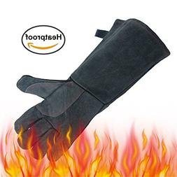 Dhakar Leather Grill BBQ Gloves, 662°F Extreme Heat Resista