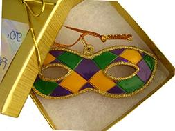 Mardi Gras Mask Ornament w/ GIFT BOX bow & To/From Tag Chris