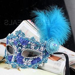 Enjoydeal Mask with Feather and Crystal Drills for Masquerad