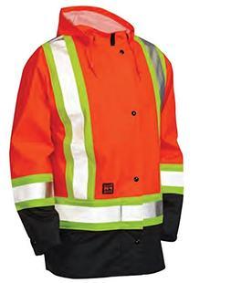 Tough Duck Men's Type 3 Flame Resistant Rain Jacket, Fluores