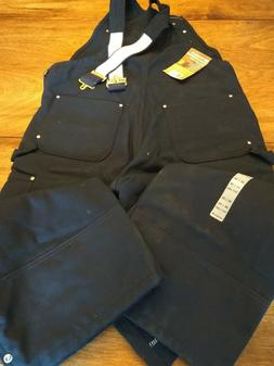 Carhartt Men's Pants Black 36x30 Quilt Lined Bib Overalls Kn