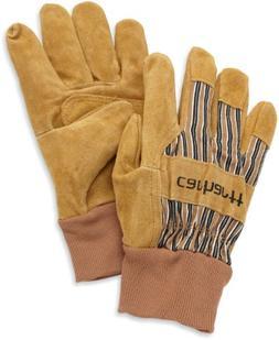 Carhartt Men's Suede Work Glove with Knit Cuff, Brown, Large
