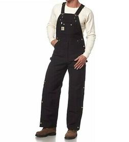 Carhartt Mens Bib Overalls Black Knee Pad Openings Quilted L
