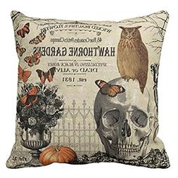 UOOPOO Modern Vintage Halloween Owl and Skull Throw Pillow C