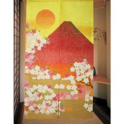 noren red Mt.Fuji with Cherry blossoms from Japan 12261