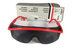 ONE UVEX Safety Glasses, Red Frame w/Shaded Lens