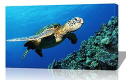 Purple Verbena Art Submarine Turtle under the Sea Pictures P