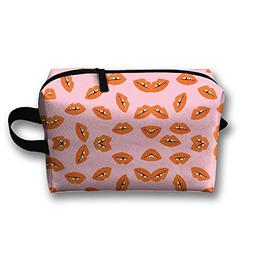 orange lips toiletry bag luggage
