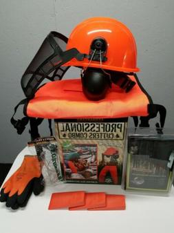 ORANGE SAFETY CHAPS, HARD HAT, EAR MUFFS,  GLASSES, WEDGES,