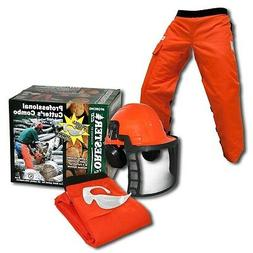 ORANGE SAFETY CHAPS, HARD HAT, EAR MUFFS,  GLASSES,  3-Piece