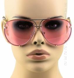Oversized Designer Aviator Eyeglasses Gold Metal Frame Clear