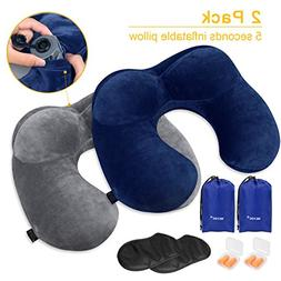 MLVOC Travel Pillow 2 Pack, Inflatable Neck Pillow with Ear