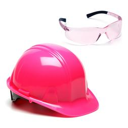 Pyramex Pink Ratchet Hard Hat & Pink Ztek Safety Glasses, HP