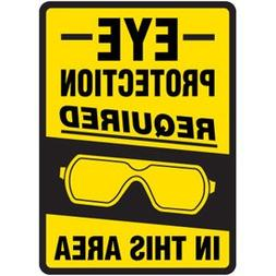 """3-Way Plastic Eye Protection Required Sign - 10""""h x 7""""w"""
