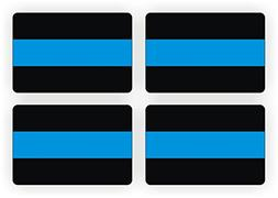 Police 2x3 Thin Blue Line Decals / Stickers / 4-Pack Bumper