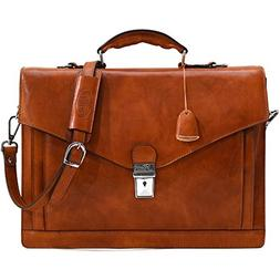Floto Ponza Full Grain Leather Briefcase in Olive  Brown