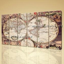Extra Large Wall Art Print On Canvas World Map Retro Global